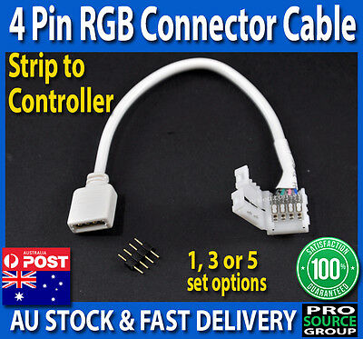 4 Pin RGB Connector strip to controller wire cable male female 10 mm 5050 SMD