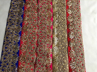 Gold Embroidered Vintage Lace Edge Trim Ribbon Bridal Wedding Sewing Dress Craft