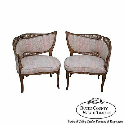 Vintage Pair of Unusual Tufted Directoire Fireside Lounge Chairs