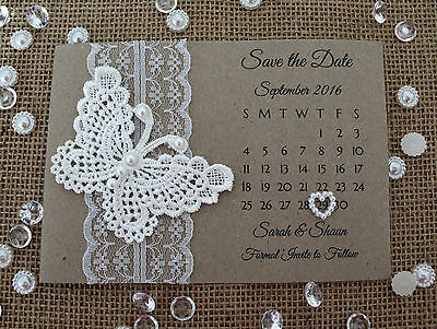 Personalised Save the Date Cards x 25 with Envelope Magnet Vintage Rustic A6