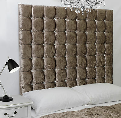 Monaco High Diamante Buttoned Bed Headboard Crush Velvet All Sizes & Colours