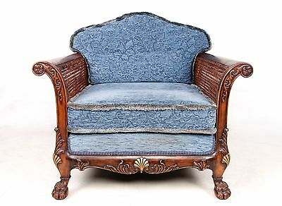 Antique French Bergere Chair Lounge Parlour Salon Armchair Walnut Caned Chair Ar