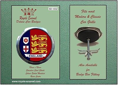 Royale Classic Modern Car Grill Badge + Fittings ENGLAND 3 LIONS - B2.1032