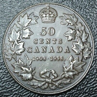 1908-1998 CANADA 50 CENTS - .925 SILVER - 90th Ann. RCM - Antique Finish