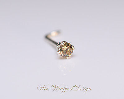 Diamond Genuine Brown DIAMOND Nose Stud 2mm 0.04ct Natural SI 14k Gold or Silver