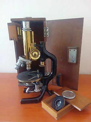 Antique Microscope C. Reichert - Wien - in Wood Box