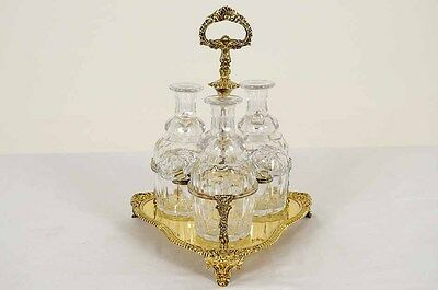 B173 Antique Electroplated Copper Tantalus Caddy with 3 Cut Glass Decanters