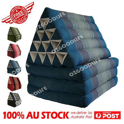 Jumbo SIZE 3-FOLDS Blue Thai Triangle Pillow Mattress Cushion DayBed