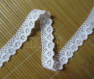 1 yard Vintage White Cotton Crochet Lace Trim Ribbon Wedding Applique DIY Sewing