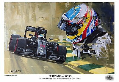 FERNANDO ALONSO A3 limited print by Greg Tillett FORMULA 1 COLLECTABLE