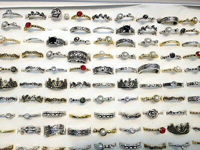 bulk lots mixed 30pcs Gothic lady's vintage silver bronze gold Happydoggy rings