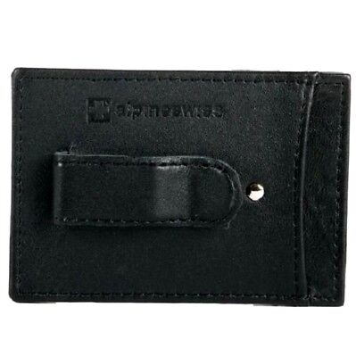 "Money Clip Alpine Swiss Men's Slim Black Leather Wallet Card Holder ""NICE GIFT"""
