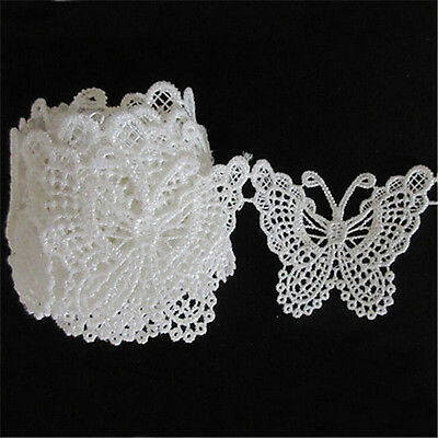 5Pcs White Butterfly Lace Embroidery Appliques Sewing Trim Wedding Craft DIY