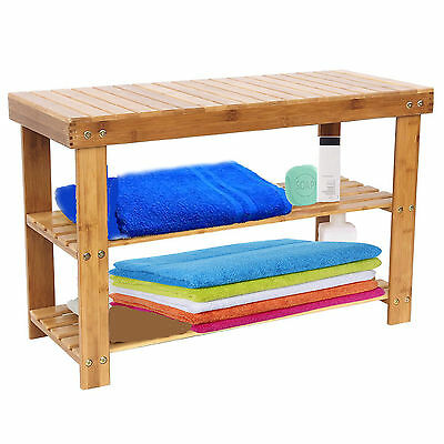 60 CMS SOLID WOOD 2 Tier Shoe Storage Rack Stool 100% Natural Bamboo with Bench