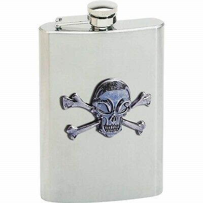 8oz SKULL FLASK Stainless Steel Screw Cap Hip Pocket Liquor Alcohol Pirate Biker