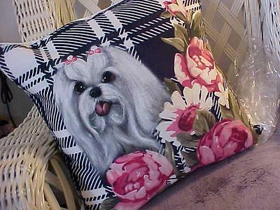 Maltese Hand Painted Pillow Stunning!!!!