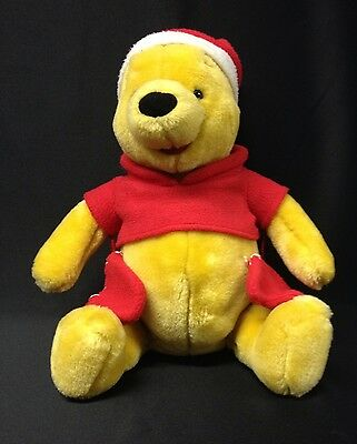 Winnie the Pooh Plush Stuffed Disney Toy Red Mittens Santa Hat Christmas Retired