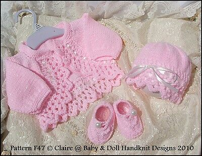 "Babydoll Handknit Designs Knitting Pattern Boleros & Hats 16-22"" Doll /0-3M Baby"