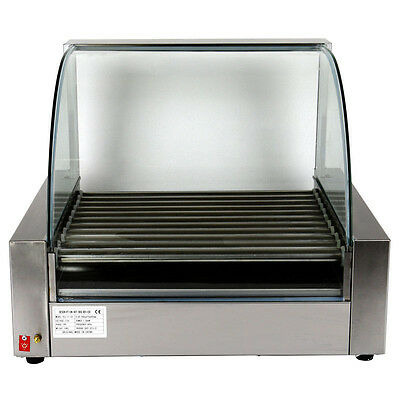 2200w Stainless 30 Hot Dog Commercial 11 Roller Grill Cooker Machine with Cover