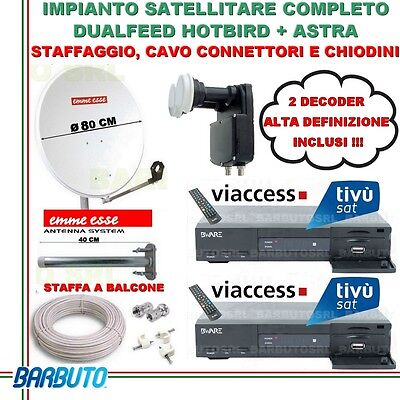 Kit Satellitare Dualfeed 2 Uscite + 2 Decoder Hd, Parabola, Lnb, Cavo, Staffa
