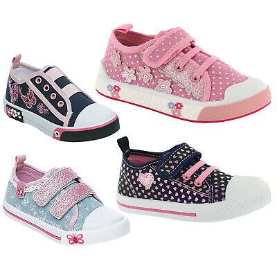 Childrens Girls Canvas Trainers Summer Pumps Casual Flat Low Top Plimsolls Shoe