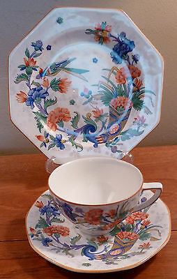 Lush antique Crown Ducal exotic bird and flowers cup, saucer, lunch plate trio