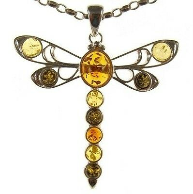 Baltic amber and sterling silver 925 designer multi-coloured dragonfly pendant j