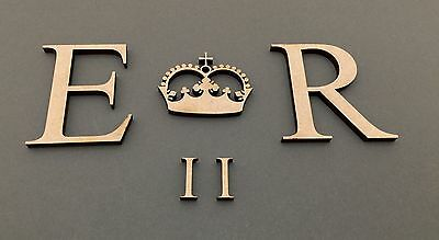 F259 Royal Princess Crown & Letters E R - MDF Decorate Your Own Wedding Post Box
