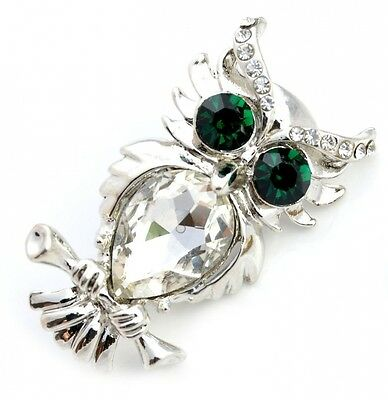 Owl Crystal Brooch Pin Plated with Rhodium (Organza Gift Pouch Included).. Free