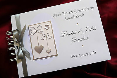 ALBUM PERSONALISED 1536SBK A5  WEDDING SILVER ANNIVERSARY GUEST BOOK