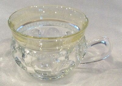 Rare Indiana Glass Clear Yellow Flash Band Kings Crown Punch Cup