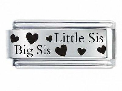 Superlink Little Sis & Big Sis Hearts Sister Italian Charm Fits Nomination Class
