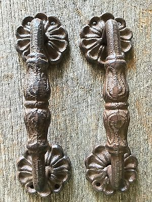 2 Large Cast Iron Antique Style RUSTIC Barn Handles Gate Pull, Shed Door Handle