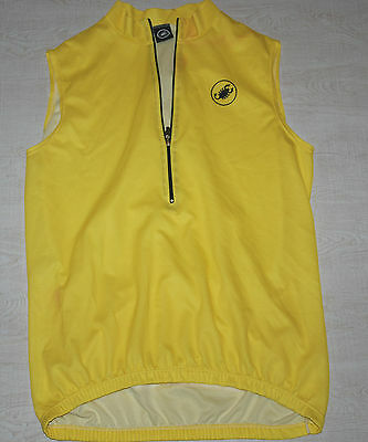 Castelli Sleeveless Jersey Vest Half Zip Breathable Yellow Xxl 2Xl Made In Italy