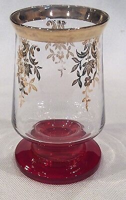 8 Rare Unusual Antique Bohemian Czech Moser ? Gold Floral Red Heavy Footed Glass