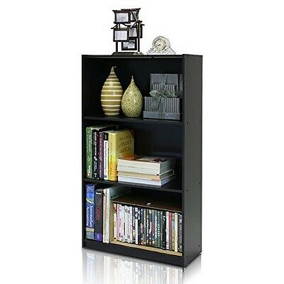 3 Shelf Bookcase Storage Open Bookshelf Wood Furniture Shelves Book Black New
