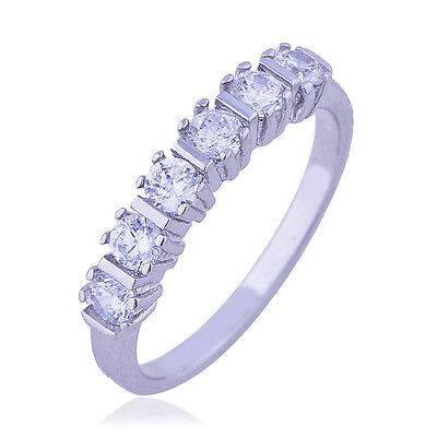 Womens White gold filled crystal eternity mystic love Wedding Ring size 6 8 lot