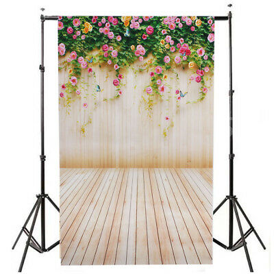 3x5ft Vinyl Photography Backdrop Flowers Wood Board Wall Photo Background
