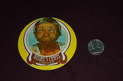 "Vintage Metal Litho - Kisses 5 Cents - Pinback Buttons 3 1/4"" Made in Hong Kong"