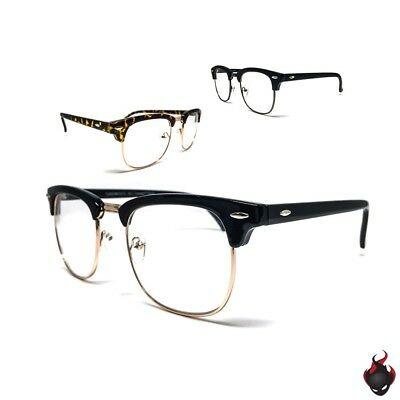 1 or 2 Pairs Retro Clubmaster Style Half Frame Clear Lens Fashion Glasses