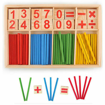 Baby Wooden Numbers Mathematics Early Learning Counting Educational Toy NS I U