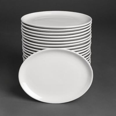 Athena Hotelware Oval Coupe Plates - Porcelain Whiteware - 254 x 197 mm - 24 p?