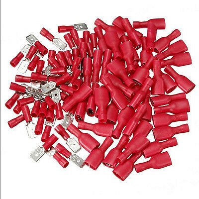 100X Female & Male Spade Insulated Connectors Crimp Electrical Wire Terminal New