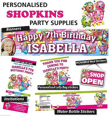 Personalised Shopkins Birthday Party Banners Decorations and Supplies