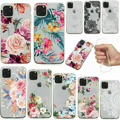 For iPhone 11 Pro Max XS XR X 8 7 Slim Soft Clear Floral Painted TPU Case Cover