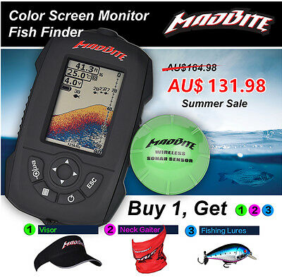 MadBite Water Resistant Wireless Sonar Portable Fish Finder 120M Color Screen