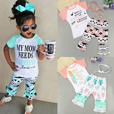 3PCS Toddler Kids Baby Girls T-shirt Tops+Boho Pants+Headband Outfit Clothes Set