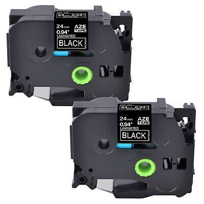 2 Pack  White on Black Label Tape for Brother P-touch PT-P700 24mm TZ TZe 355
