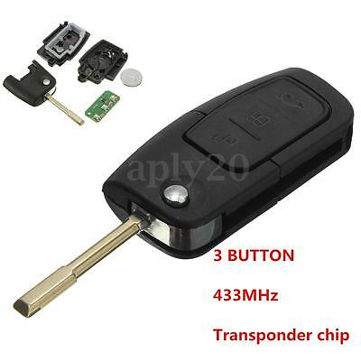433MHz 3 Button Entry Remote Key Fob Transponder For FORD Focus Mondeo Chip ID60