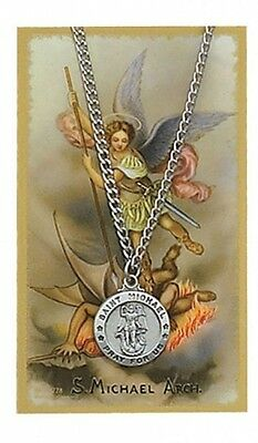 Round St. Michael the Archangel Medal with Prayer Card. Delivery is Free
